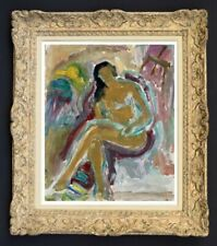 RAYA SAFIR (1909-2004) PEINTURE FAUVISTE SUPERBE NU DANS L'ATELIER 1950 (239)