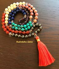GENUINE GEM STONE SEVEN CHAKRA JAPA MALA 108 MEDITATION ROSARY PRAYER YOGA BEADS