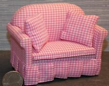 Dollhouse Miniature Pink Gingham Floral Loveseat  1:12  one inch scale  E57