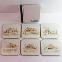 Vintage Set of 6 Jason Coasters, Cork Back, Farm Homestead Art, Boxed