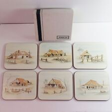 Vintage Set of 6 Jason Coasters, Cork Back, Farm Homestead Art, Boxed