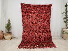 """Vintage Moroccan Tribal Handmade Carpet  4'2""""x7'9"""" Berber Geometric Red Wool Rug"""