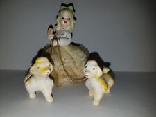Young Lady with Two Dogs - Empress Porcelain Figurine - Made in Japan, Free Ship
