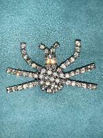 Rhinestone Spider Silver Brooch Pin Halloween Vintage Bling