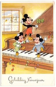 Walt Disney Postcard Mickey Mouse & Boys Dancing on New Year Piano~104144
