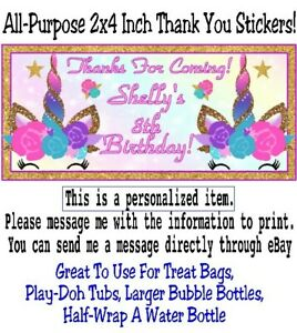 20 Unicorn Birthday Party Thank You Stickers Baby Shower Personalized Rainbow