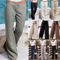 Women's Wide Leg Cotton Linen Pants Casual Loose Palazzo Long Trousers Plus Size