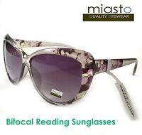 MIASTO VINTAGE BIG CAT EYE READER READING SUN GLASSES+2.00 OVERSIZED (BIFOCAL)