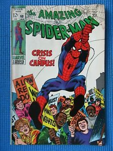 AMAZING SPIDER-MAN # 68 - (FINE) -CRISES ON CAMPUS -KINGPIN - GWEN STACY