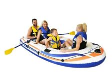 New Pathfinder 4 Person Inflatable Raft Boat With Pump and Oars-Lake Rivers Pool