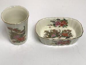 Vintage  Japanese Porcelain Pink Roses/peacocks Soap Dish Tumbler Cup