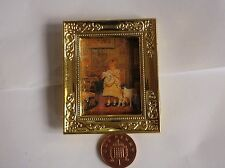 Escala 1:12 enmarcado cuadro de un niño de oro & Su Mascota, muñeca casa miniatura (B)