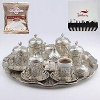 [SET OF 6 ] Turkish Greek Arabic Coffee Espresso Serving Cup Saucer Set