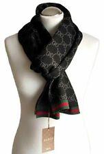 GUCCI men scarf shawl GG Guccissima 23x180 cm 100% wool black