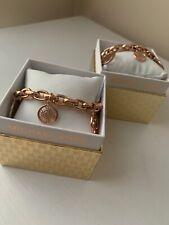 MICHAEL KORS MKJ4474791 Logo Round Charm Chain Bracelet Rose Gold