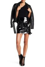 ALPHA & OMEGA Patent Leather Ruffle Skirt Black Large Mini