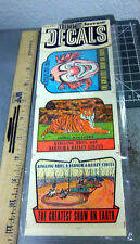 Vintage unopened pack of 3 Ringling Brothers Circus Decals, Great graphics!