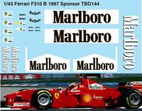 1/43  FERRARI SPONSOR F310B 1997 MICHAEL SCHUMACHER DECALS TB DECAL TBD144