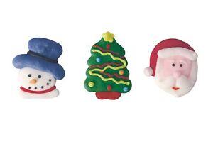 Edible Santa, Snowman & Tree Sugar Pipings  x 12