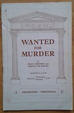 Louise Hampton signed Wanted For Murder programme Lyceum Theatre 1937 autograph