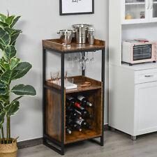 Retro Industrial Wine Storage Cabinet Serving Bar Wood Buffet 9-bottle Wine Rack