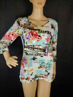 Onque casual women top Firenze logo size small  3/4 sleeves flower Sequin