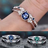Bague de fiançailles de mariage femme bleu / émeraude vert saphir taille 6-10 FR