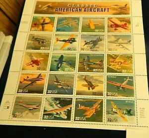 Classic American Aircraft Sheet of Twenty 32 Cent Stamps By USPS
