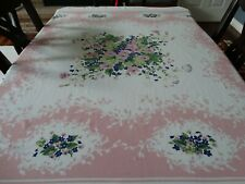 """Vintage Cotton Tablecloth Screen Print Violets and Pink Petunias 49""""  x 53 1/2"""""""