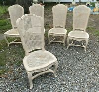 Set of 5 Vintage Antique French Style Dining Chairs Tall Cane Back & Seat