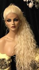 "DREAMY 32"" LONG Platinum Blonde Lace Front ANGELIC Spiral Curl Wig!"