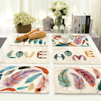 HN- Colorful Feather Print Insulation Placemat Cotton Linen Dining Pad Tableware