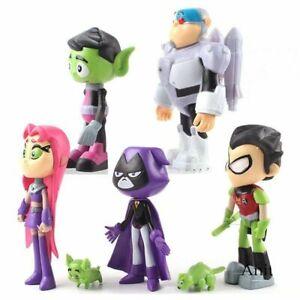 7Pcs Teen Titans Go Robin Cyborg Beast Boy Raven Starfire Action Figure Toy AU