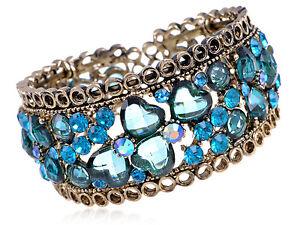 Blue Zircon Indicolite Crystal Rhinestone Heart Brass Cuff Bangle Bracelet GB