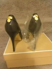 Michael Kors Hamilton Open Toe DK  Chocolate Leather Size 9 Shoe's Retail $150
