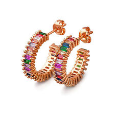 18k Rose Gold Plated Emerald Cut Rainbow CZ  Hoop Earrings Made With Swarovski
