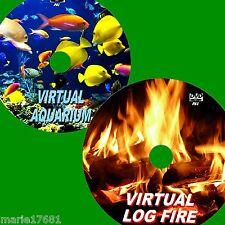 VIRTUAL AQUARIUM + LOGFIRE GREAT TWIN DVD VIDEO SET VIEW ON FLATSCREEN TV/PC NEW