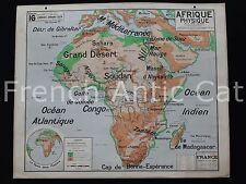 Rare Carte vintage Afrique Physique 16 Lablache 1*1,2 m Déco Indusriel cartonné