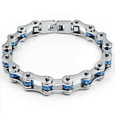 Blue Crystals Motorcycle Bike Chain Design Stainless Steel Women bracelet 7.25
