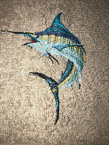 Embroidered Beige Cotton Bathroom Hand Towel Watercolor Marlin  SPORT FISHING