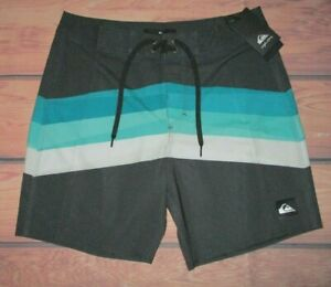 MENS QUIKSILVER CHARCOAL TEAL SWIM BOARD SHORTS SIZE 32