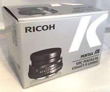 New SMC Pentax FA 43mm F1.9 Limited Auto Focus Lens in Black K Mount RICOH