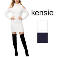 Kensie Womens Cold-Shoulder Sweater Dress