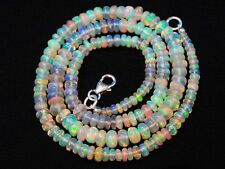 """Super Flashing Fire Natural Ethiopian Opal Smooth Rondelle Beads Necklace 16"""""""