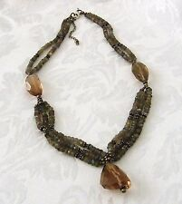 Beaded Necklace with Natural Stone Beads and Smokey Quartz  45 cm with 6 cm Ext.