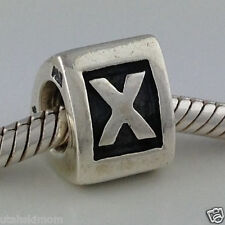 Authentic Pandora Sterling Silver Letter X Bead Charm 790323x New