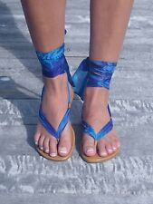 Handmade leather and silk chiffon ankle wrap sandals by Alessia Solari
