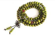 8mm Tibet Buddhism 108 green wood Mala Necklace