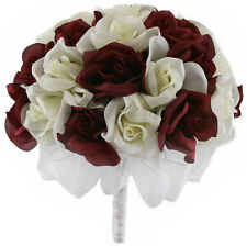 Burgundy and Ivory Silk Rose Hand Tie (36 Roses) - Bridal Wedding Bouquet