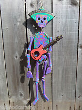 Hand Carved Made Wooden Sugar Skull Candy Mariachi Skeleton Wind Chime Mobile